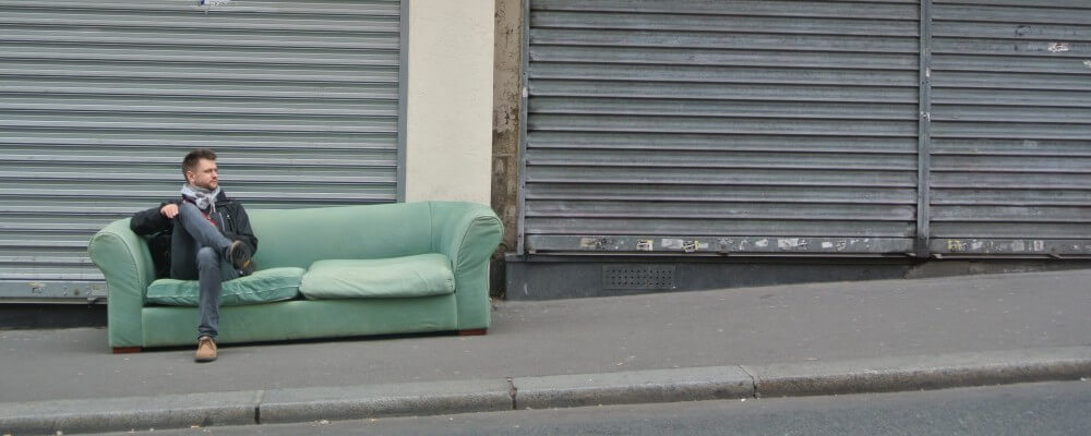 Street, Couch, Dude