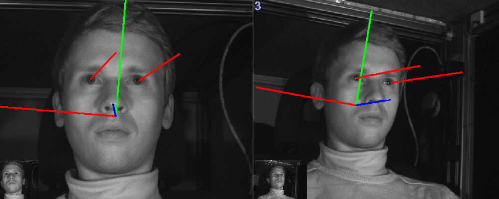 SmartEye system using 3 cameras, showing the participants gaze